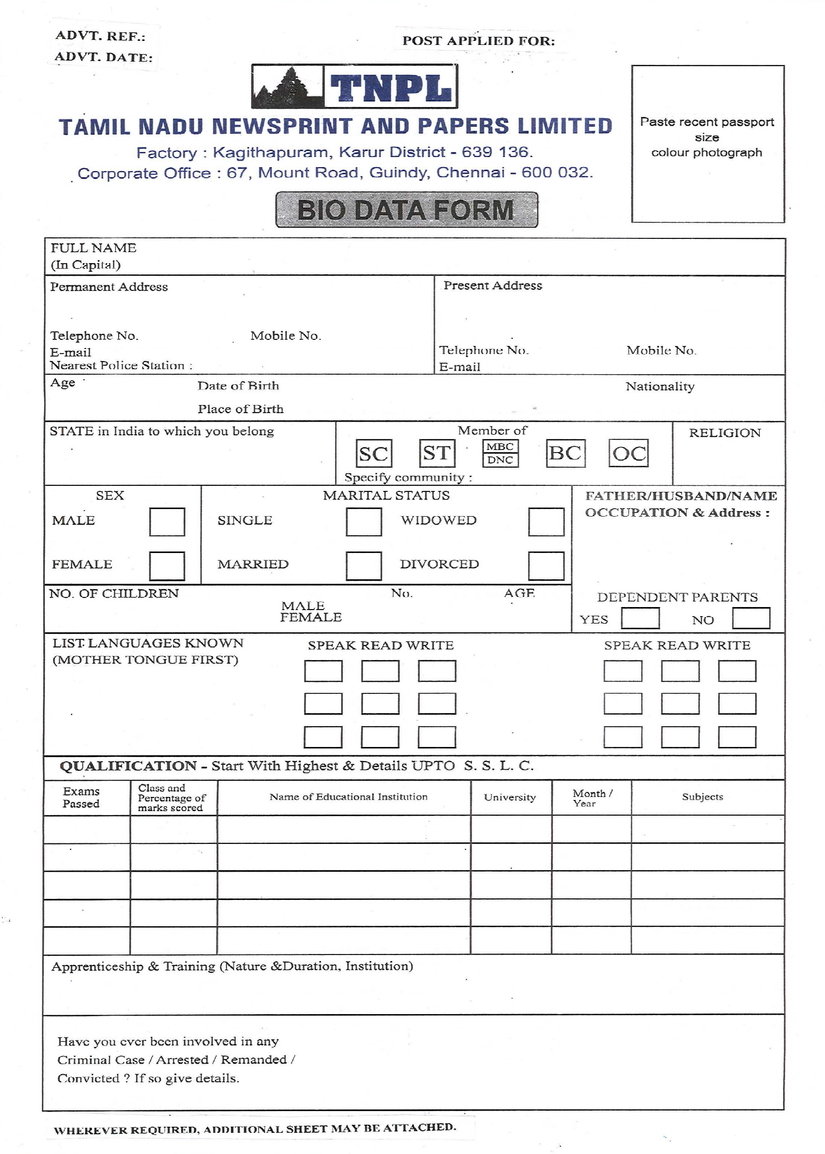 Company Biodata Format Free Download