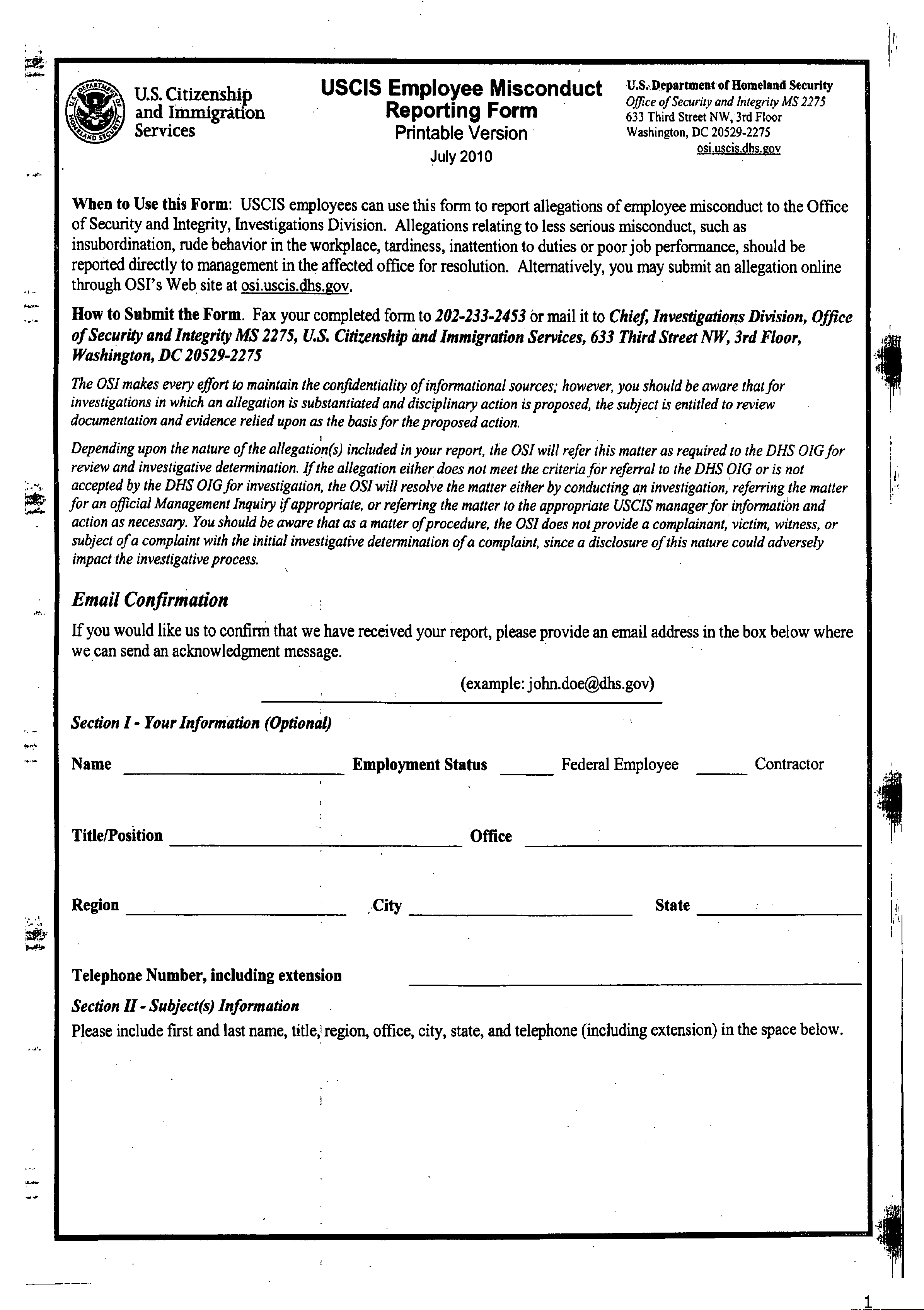 Employee Misconduct Form Format Free Download