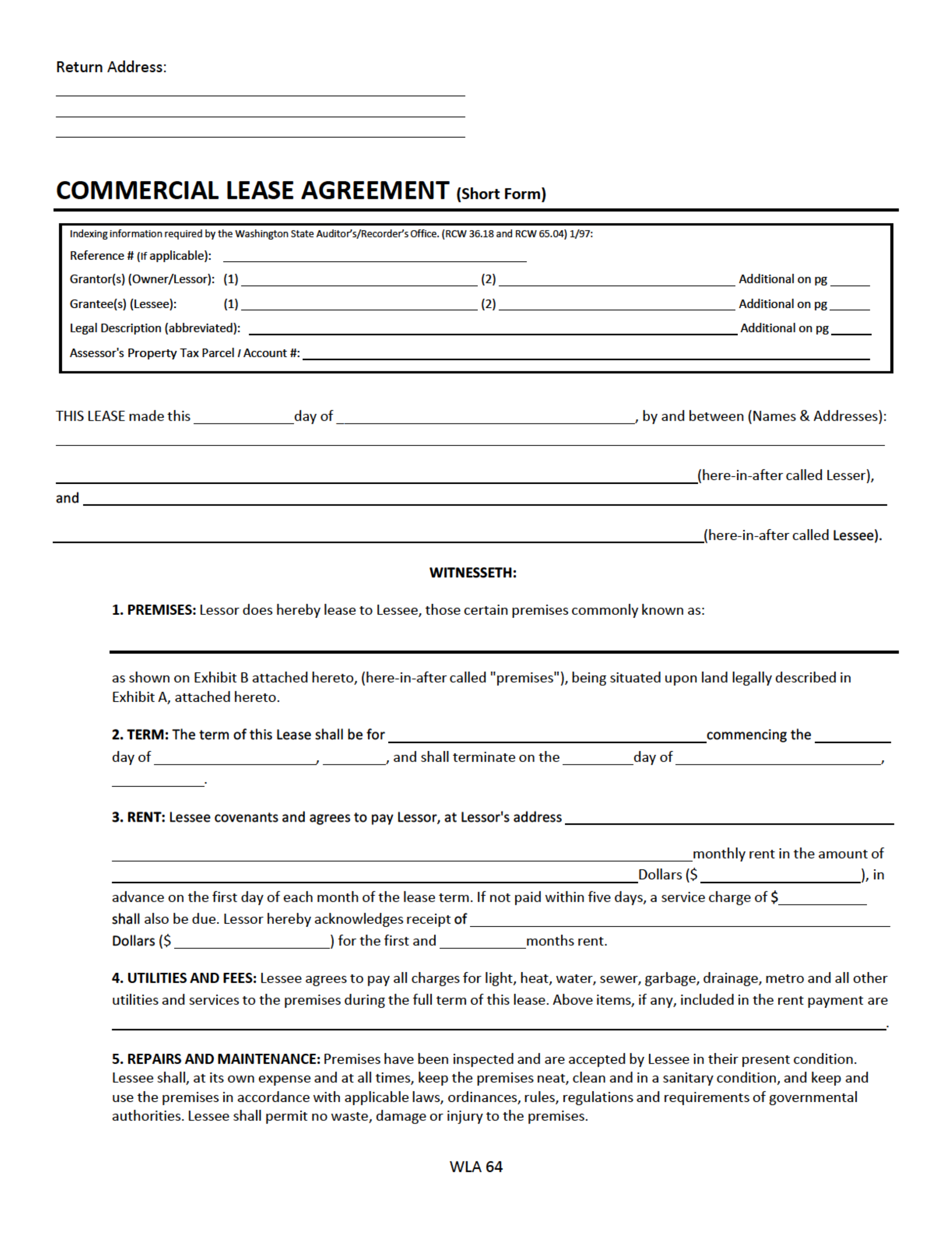 Washington Commercial Lease Agreement Free Download