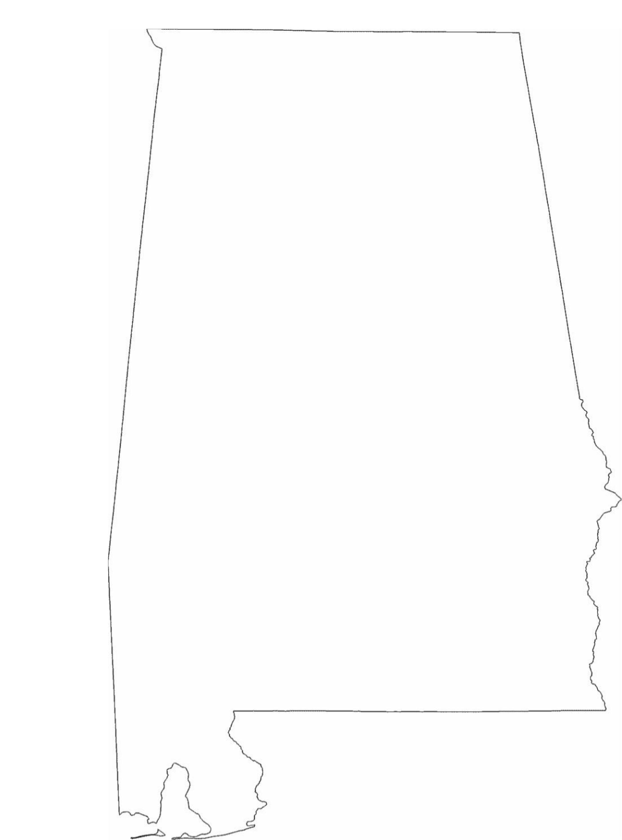 Alabama State Outline Map Free Download