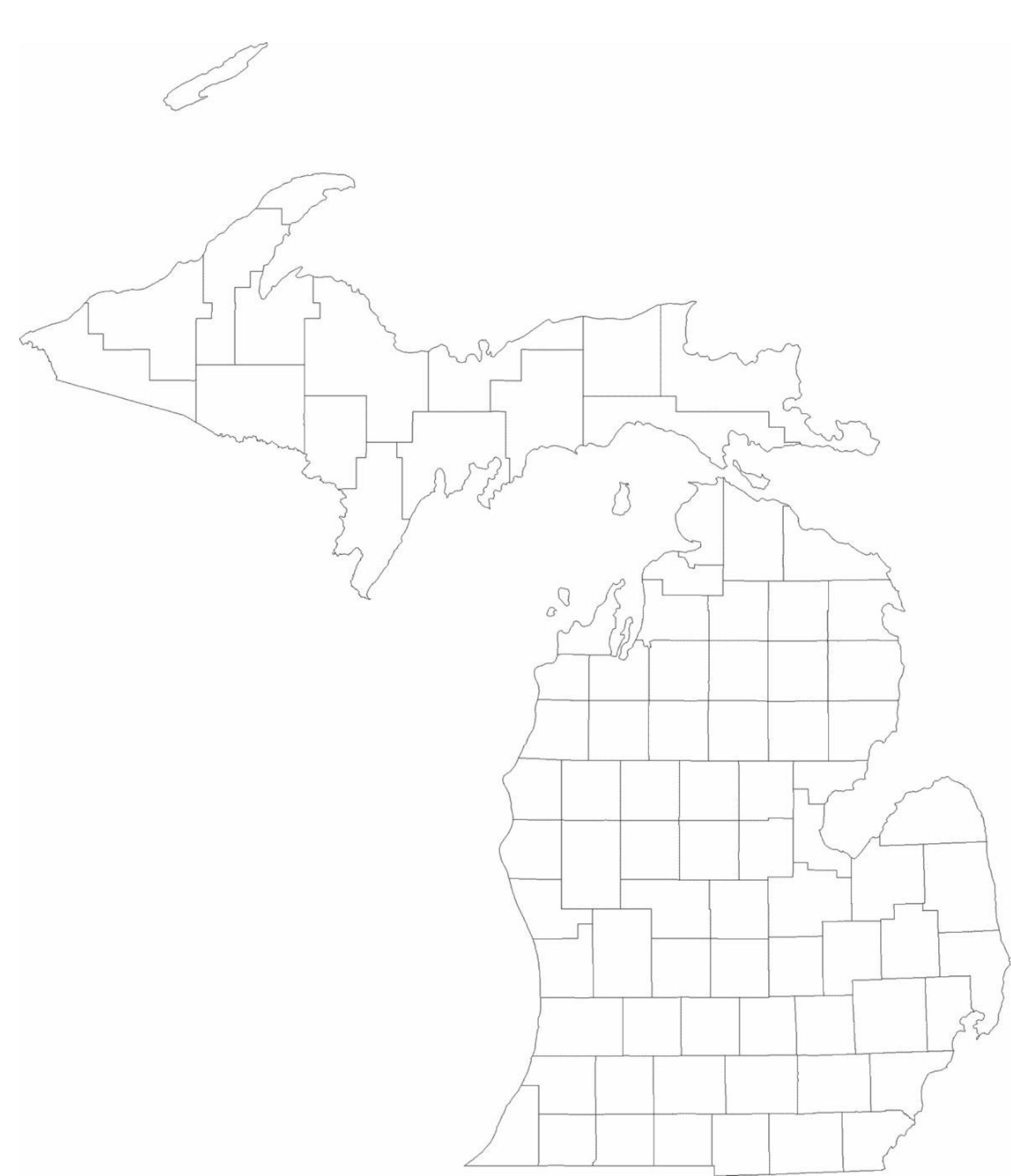 Blank Michigan County Map Free Download