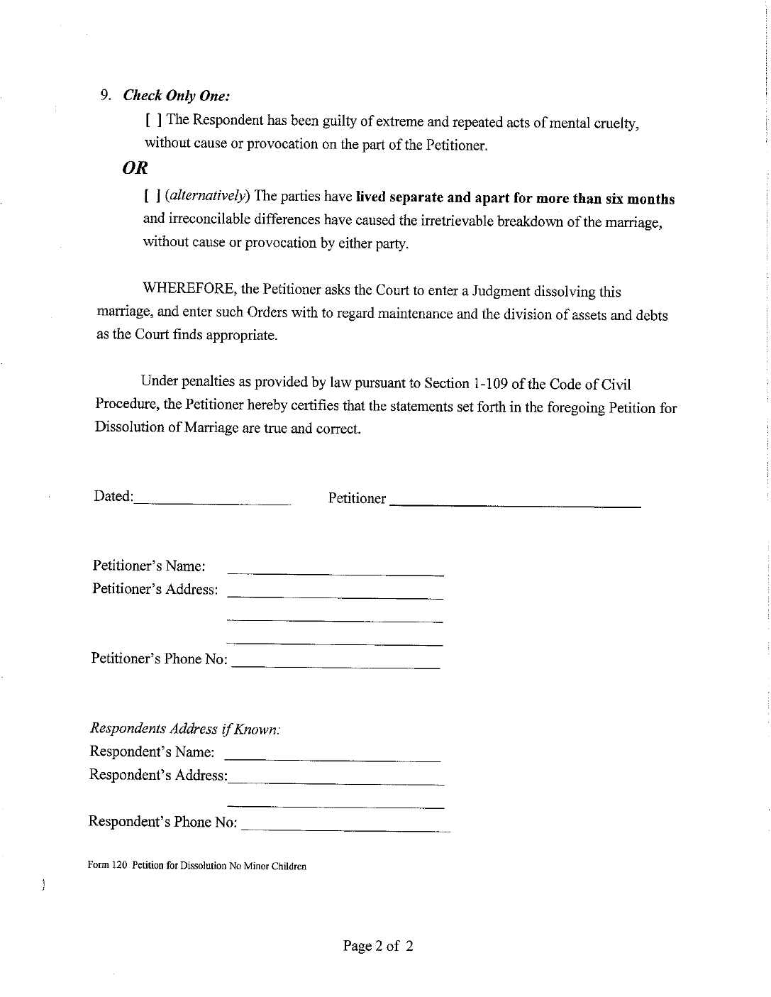 Dissolution Of Marriage Form Without Minor Children