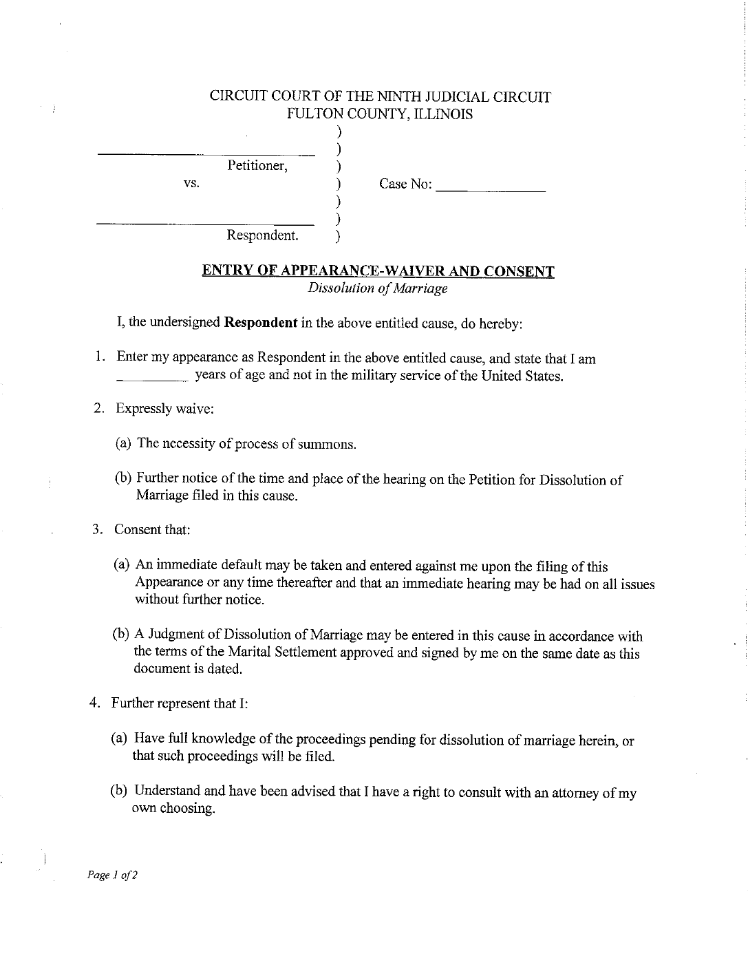 Dissolution Of Marriage Form Without Minor Children Illinois Free Download
