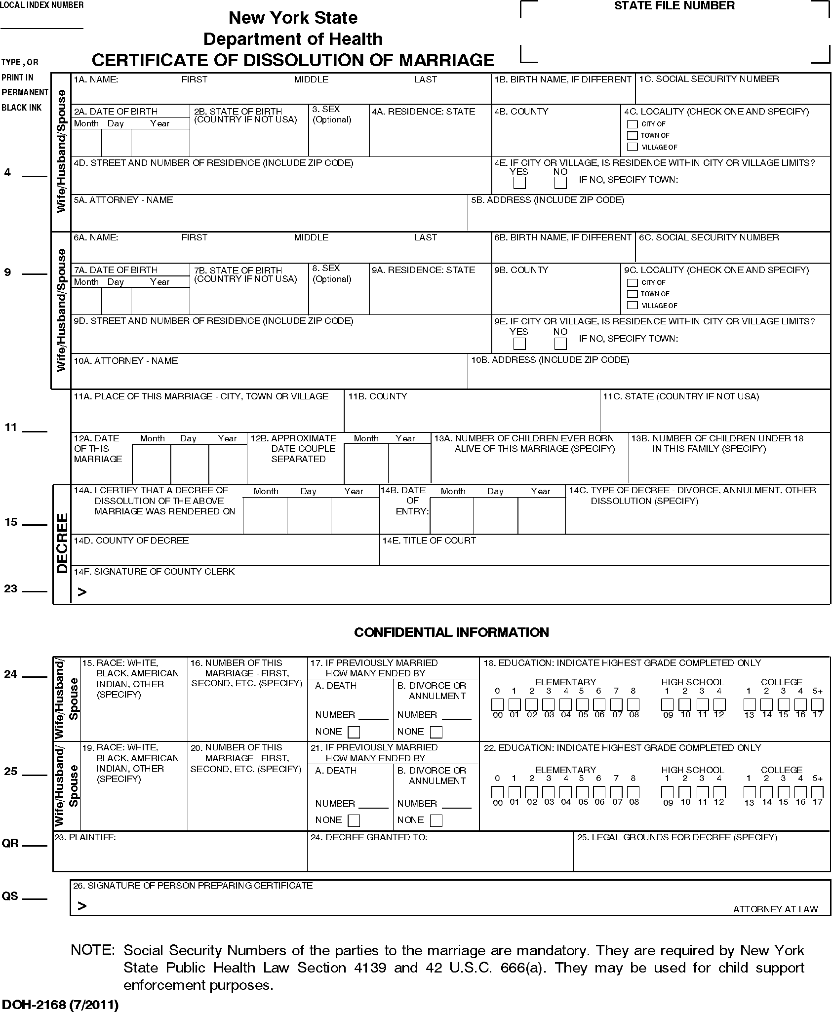 Worksheets Child Support Worksheet Ny certificate of dissolution marriage new york state free download page 11