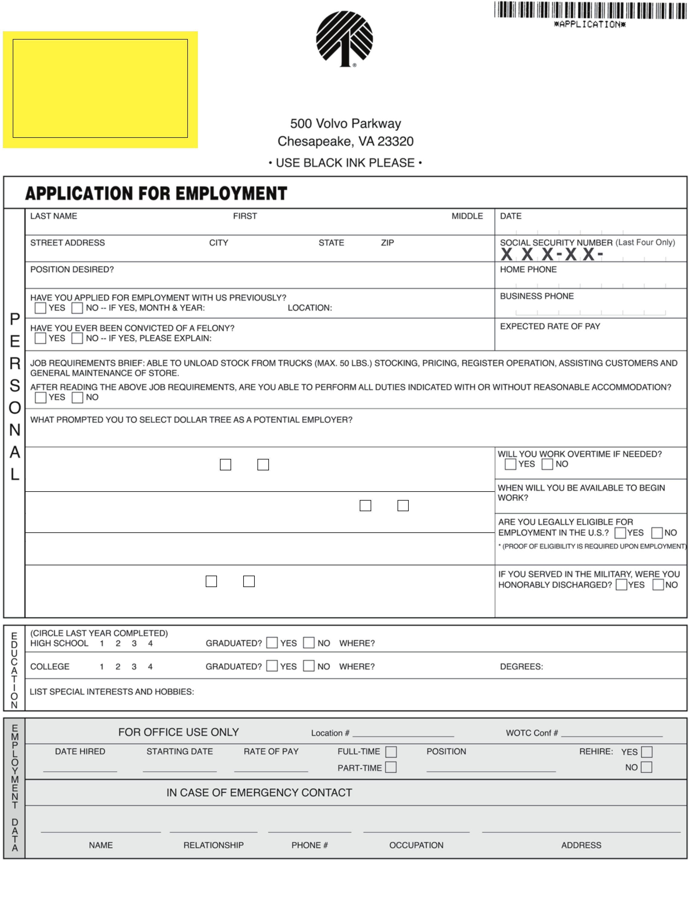 Pin Family Dollar Tree Applications On ~ Dollar Tree Application Form