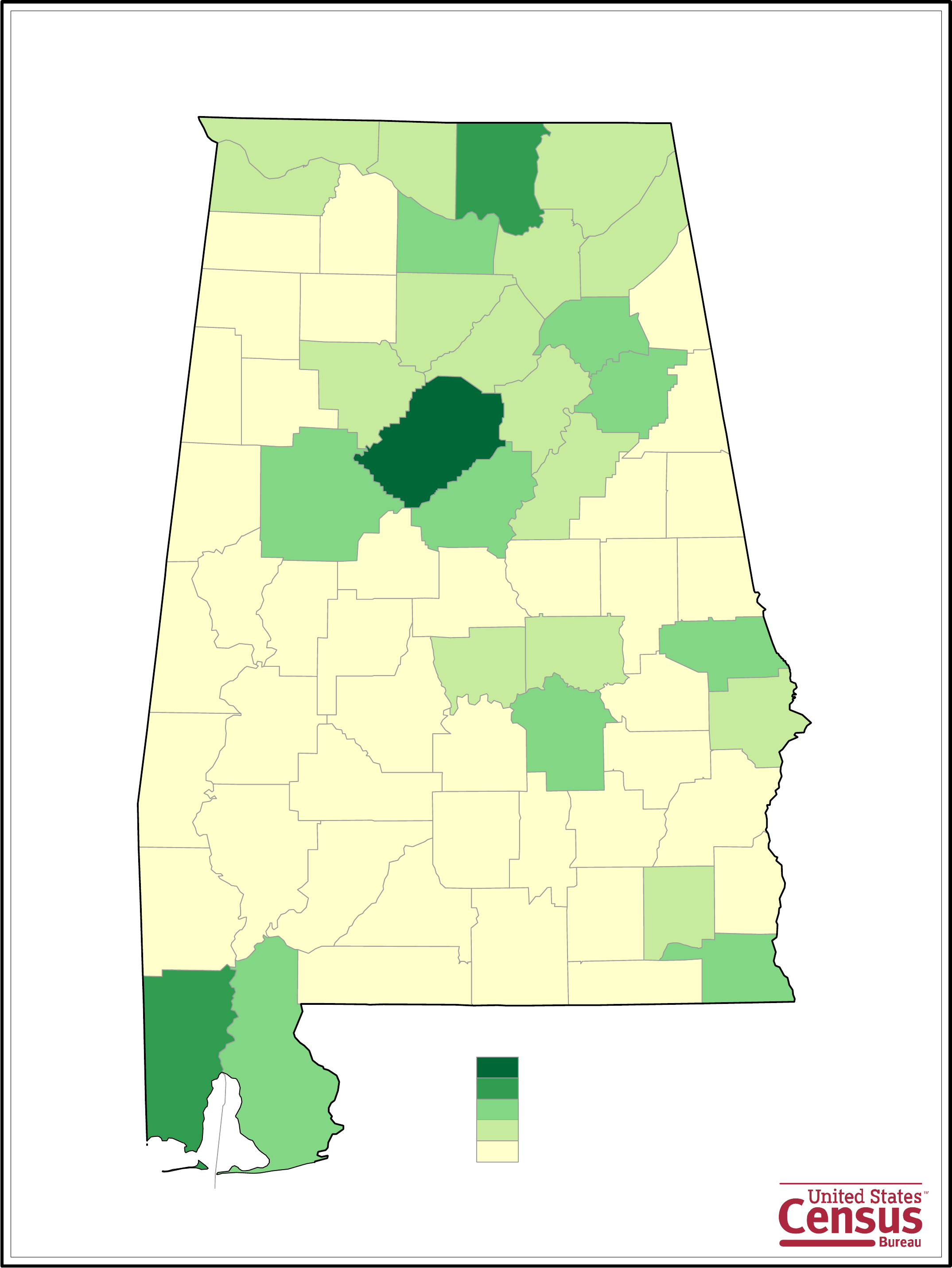 Alabama County Population Map Free Download