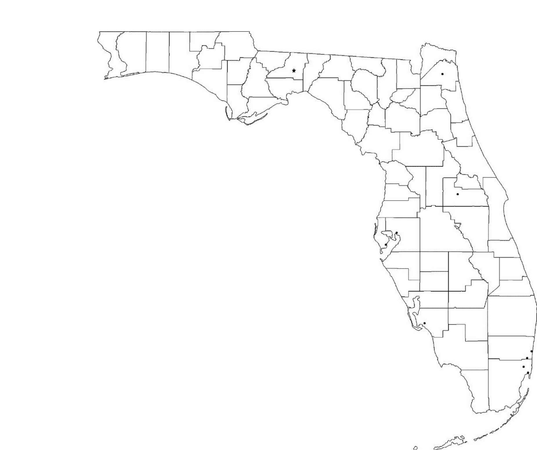 photo relating to Florida County Map Printable called Blank Florida Metropolis Map No cost Down load