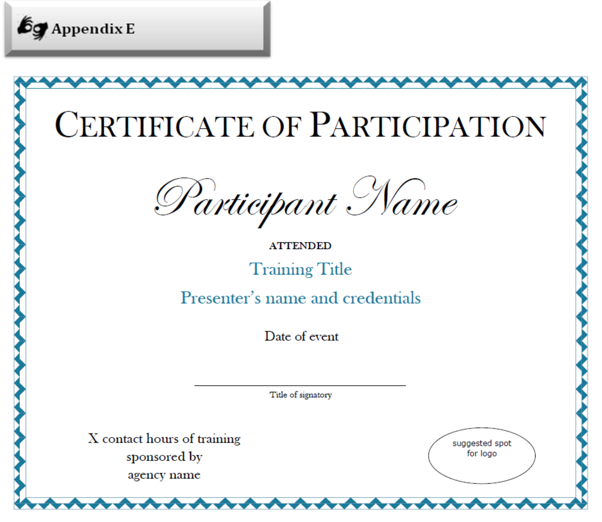 Sample Certificate Of Participation Template Examples – Training Certificate Template Free Download