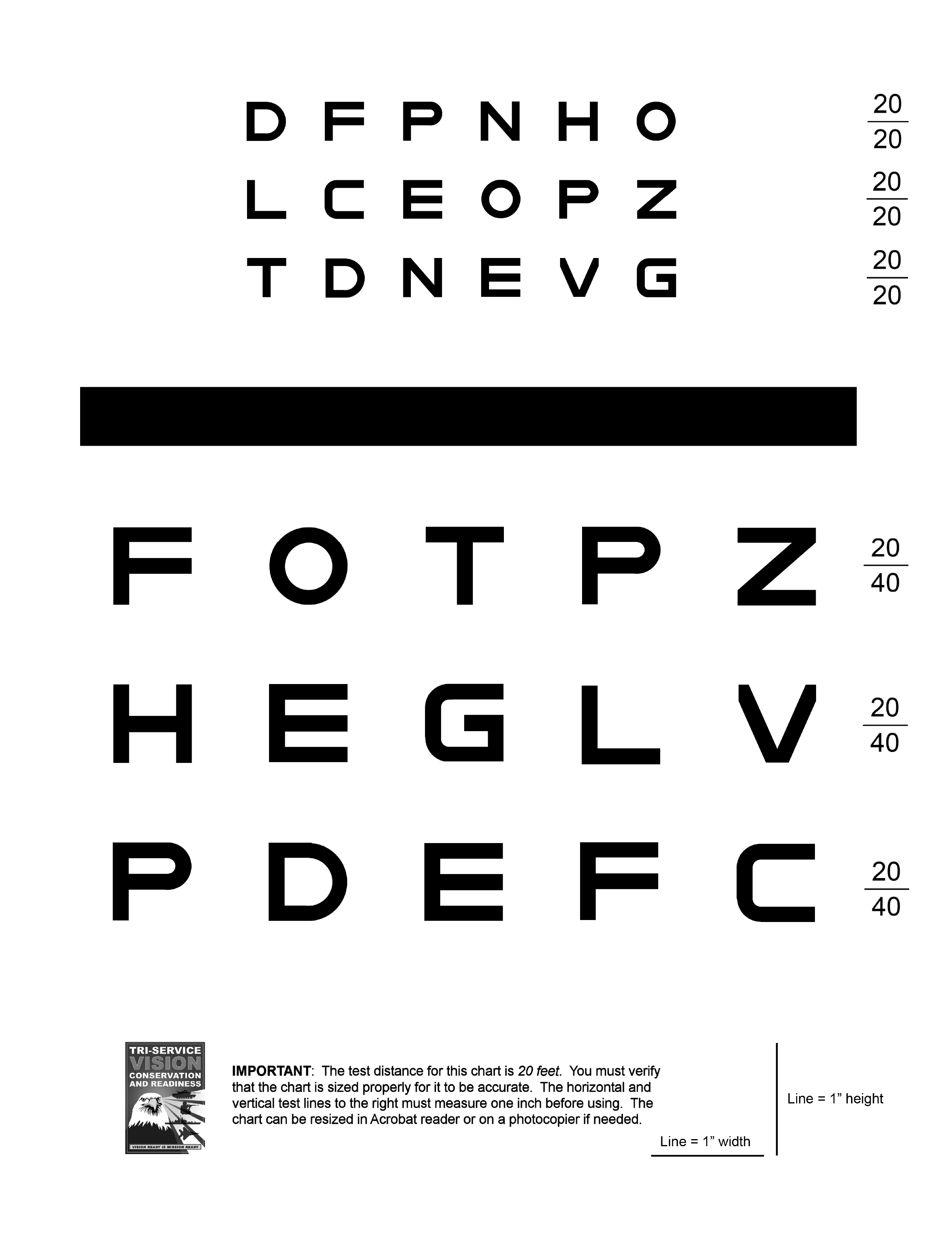 Eye Chart And Size Verification Instructions Free Download