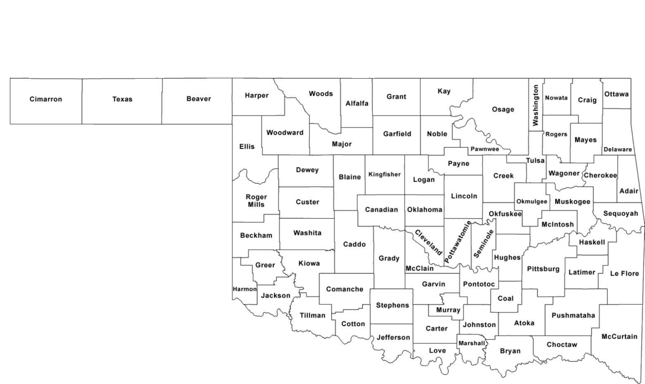 Oklahoma County Map With County Names Free Download - Counties of oklahoma map