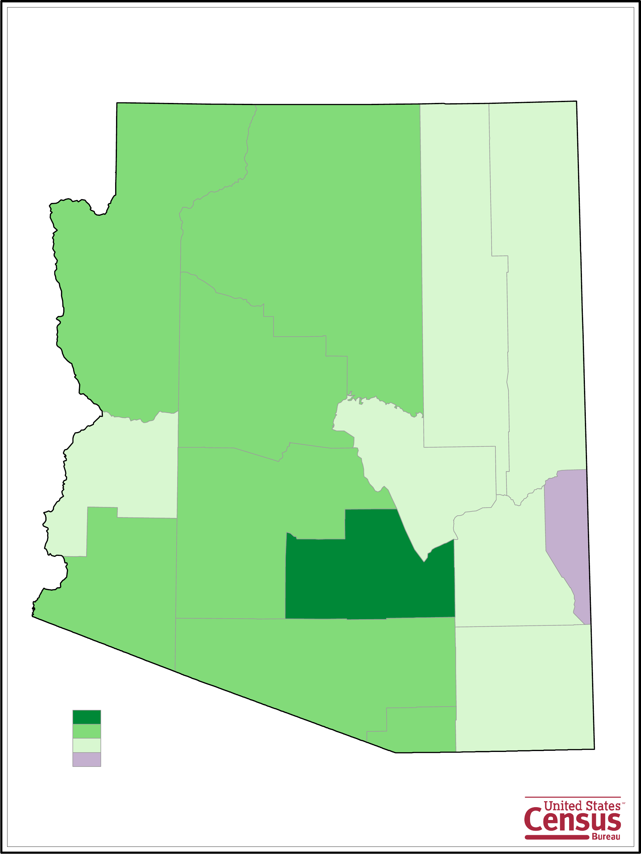 Arizona County Population Change Map Free Download