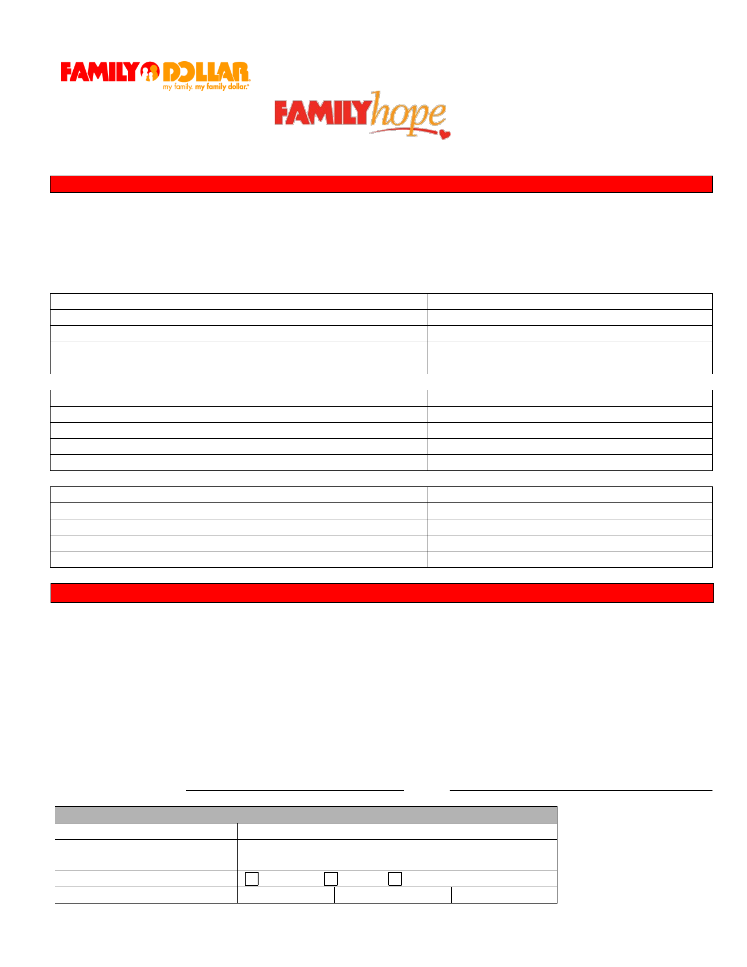 Family Dollar Job Application Form for Financial Assistant Free Download