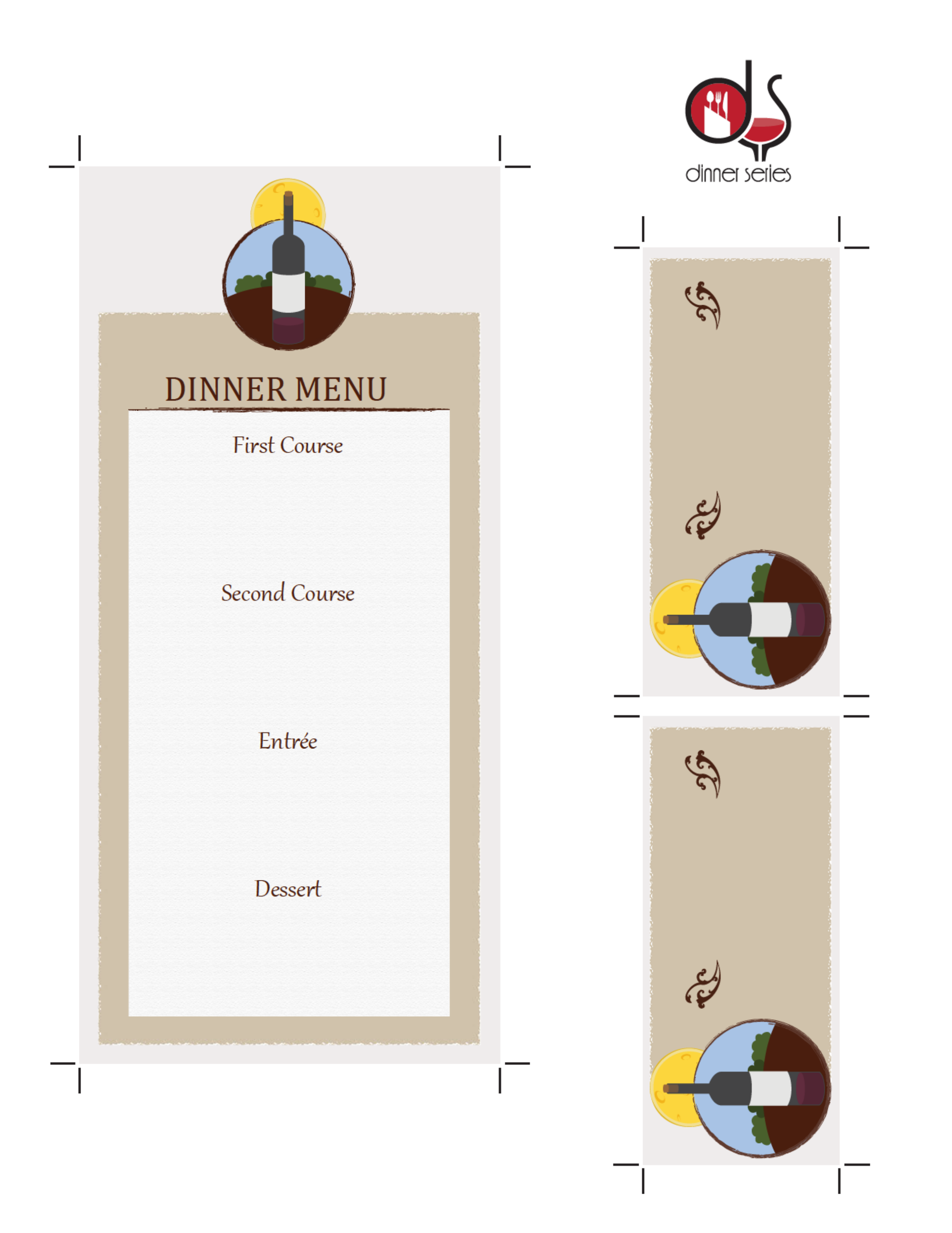 Four Course Menu Card Template With Place Cards Free Download - Menu place cards template