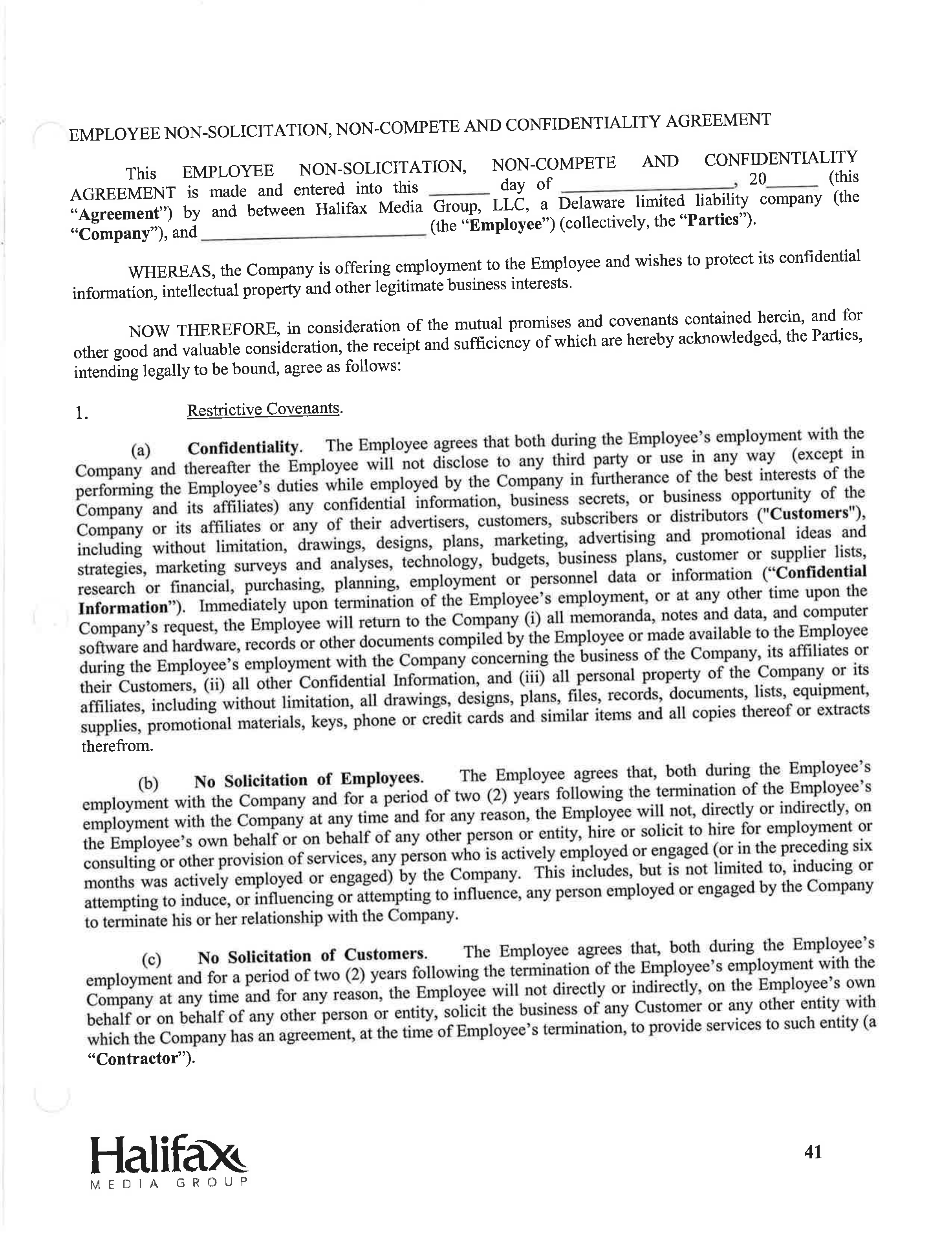 employee non solicitation non compete and confidentiality non compete and confidentiality agreement page 1 4