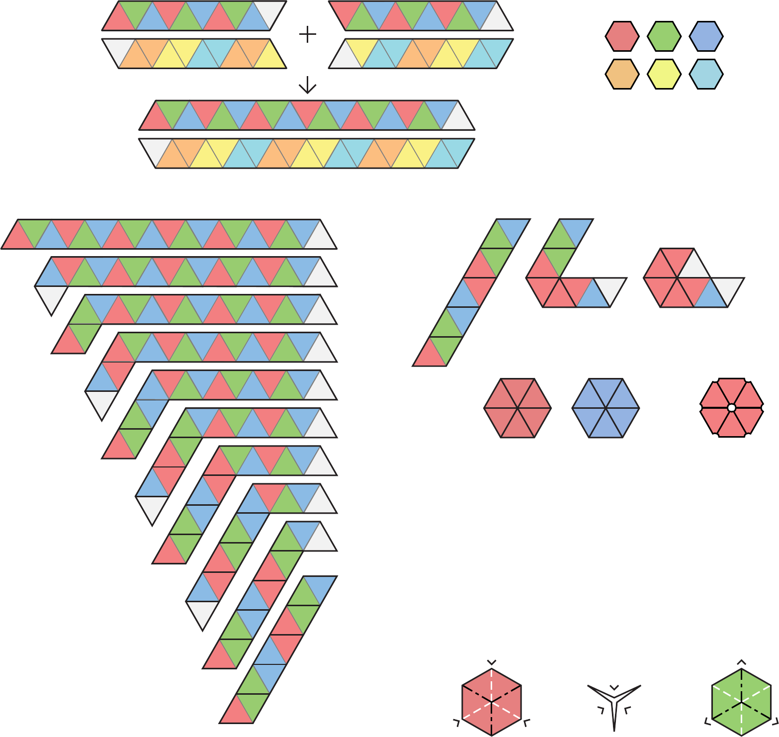 Blank and Decorated Hexahexaflexagon Template Free Download