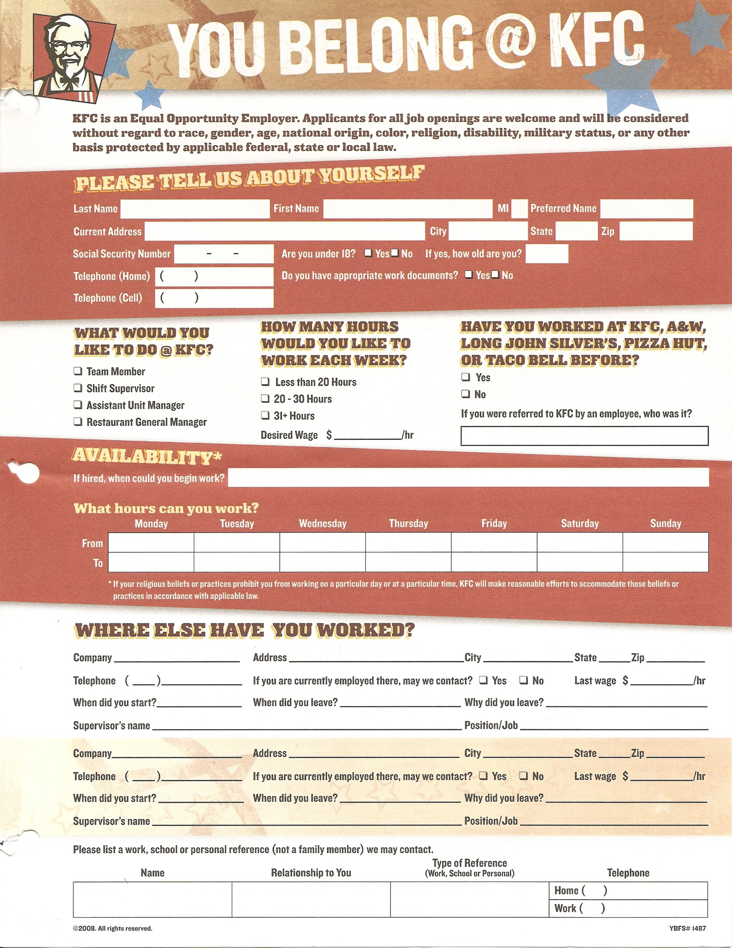 Kentucky Fried Chicken Job Application Form Free Download