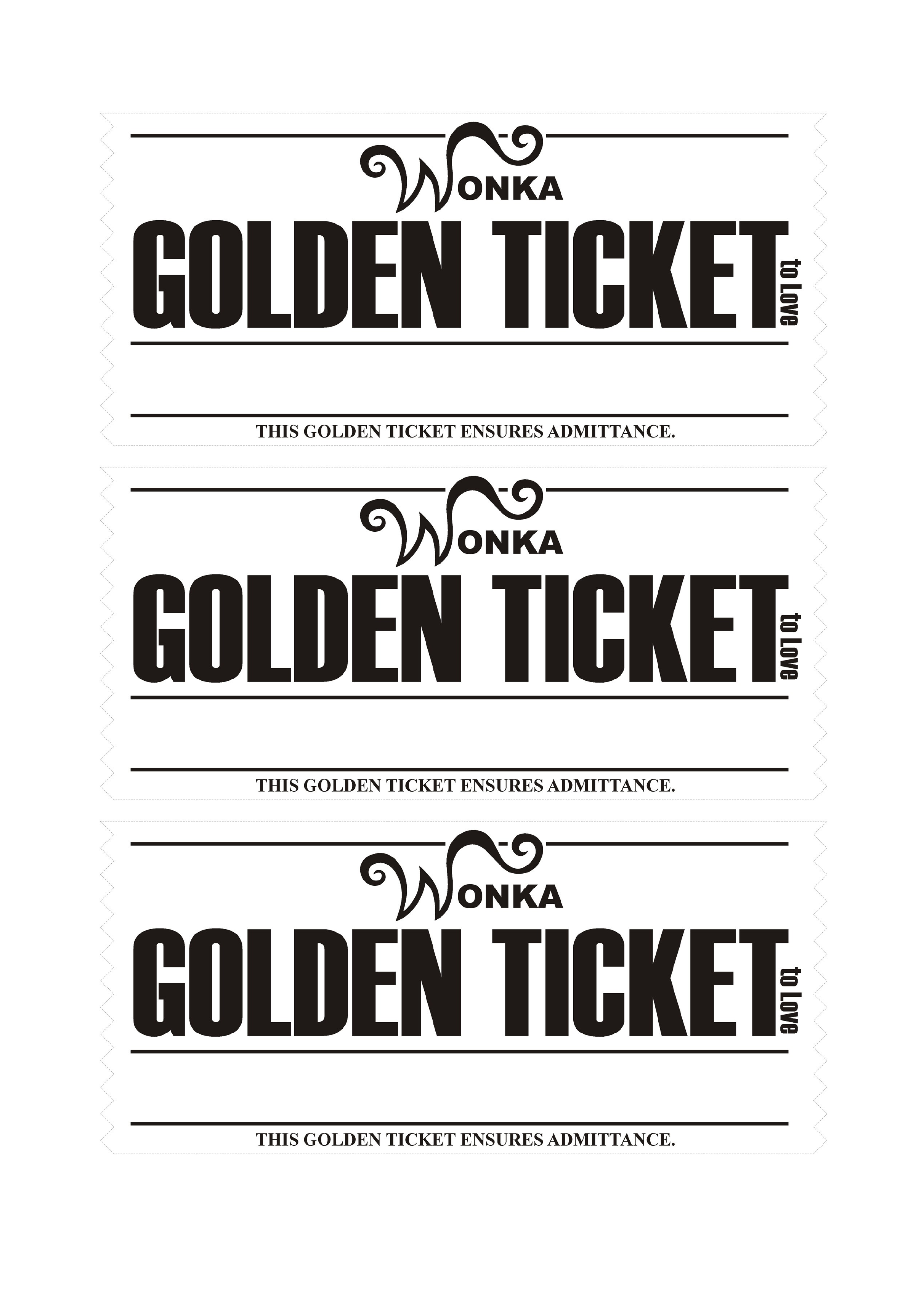 Golden Ticket Love Coupons Template Free Download