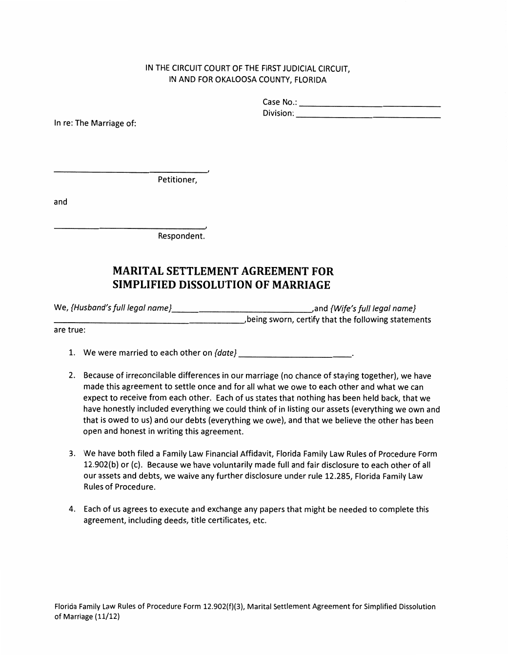 marital settlement agreement for simplified dissolution of
