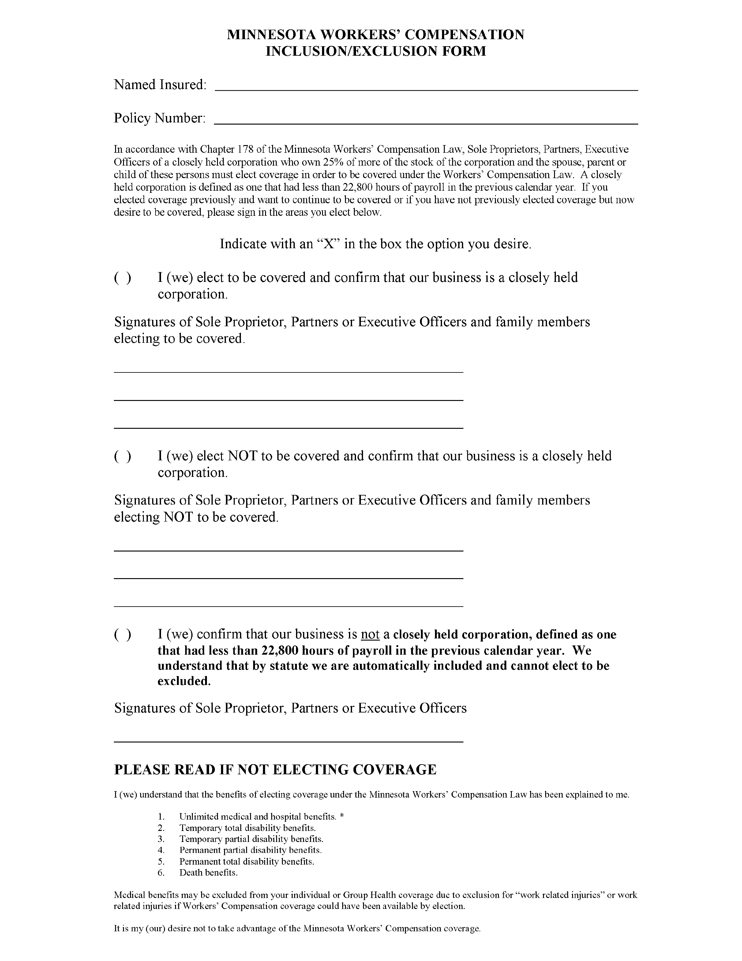 Workers Compensation Inclusion/Exclusion Form - Minnesota Free ...
