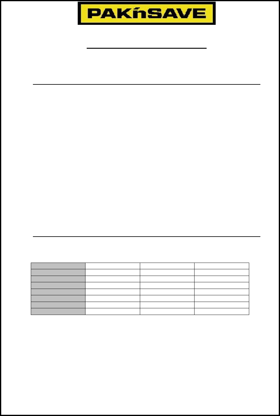 PAK\'nSAVE Application for Employment Form Free Download