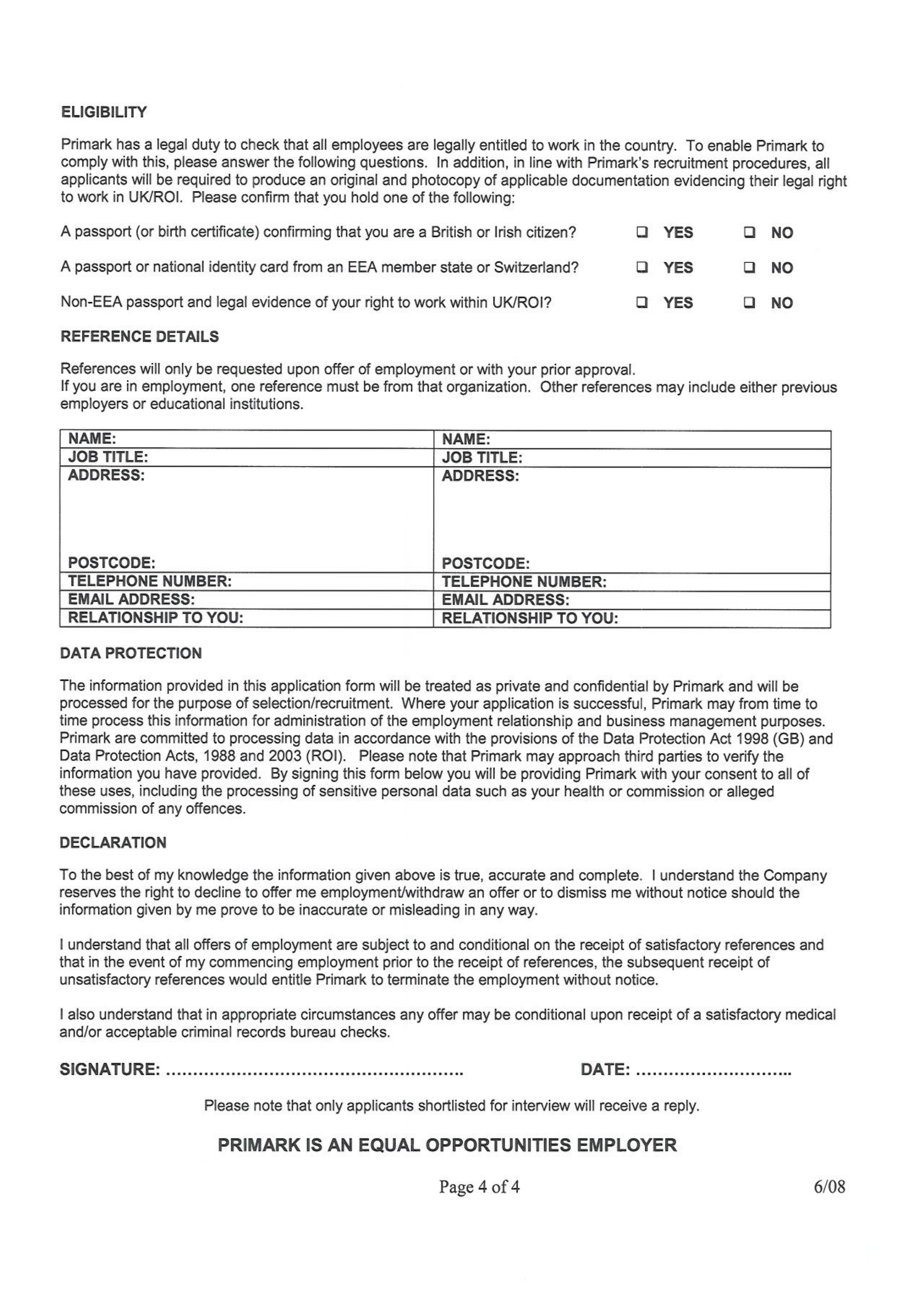 Primark job application form free download falaconquin