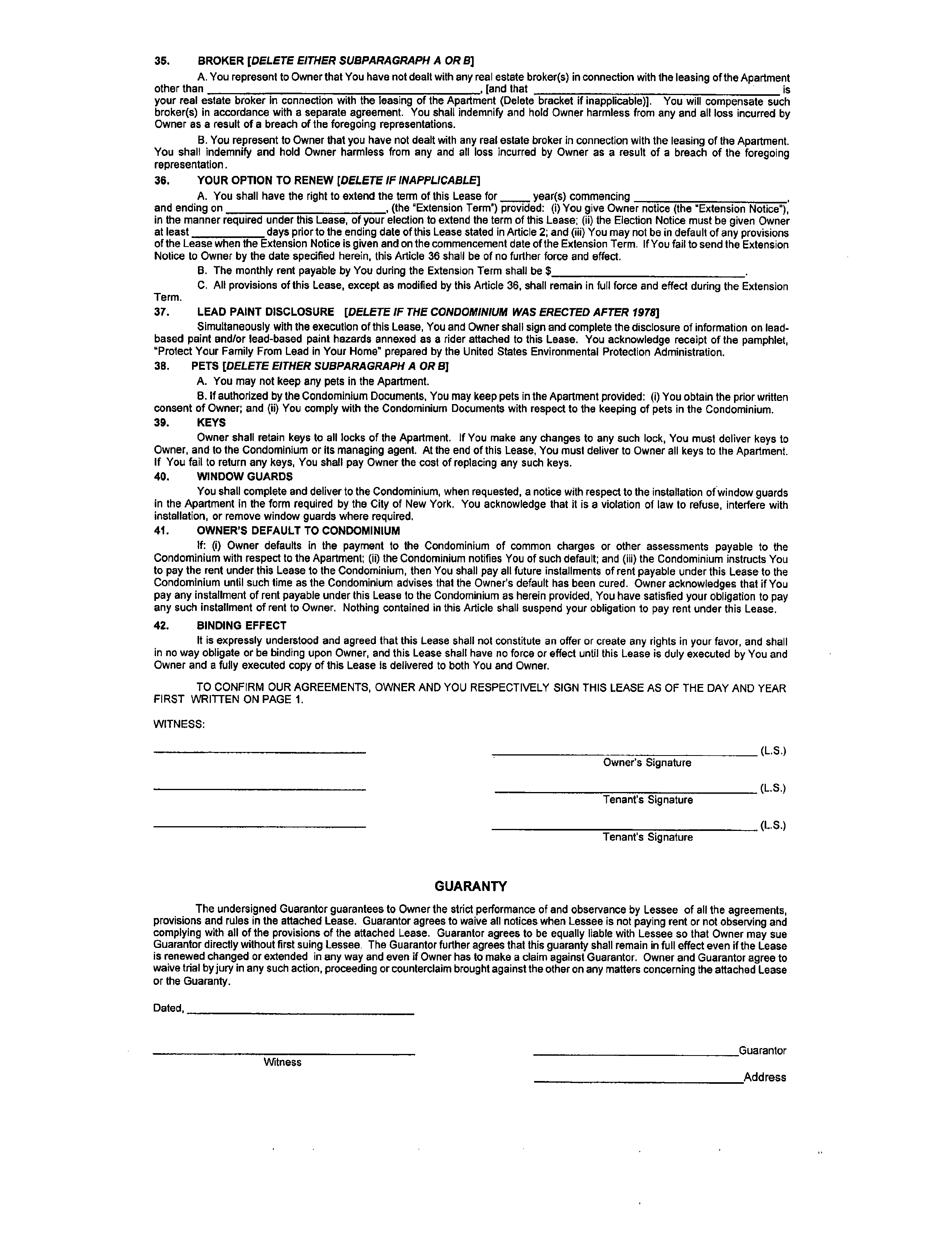 Standard Form Of Condominium Lease Agreement Free Download