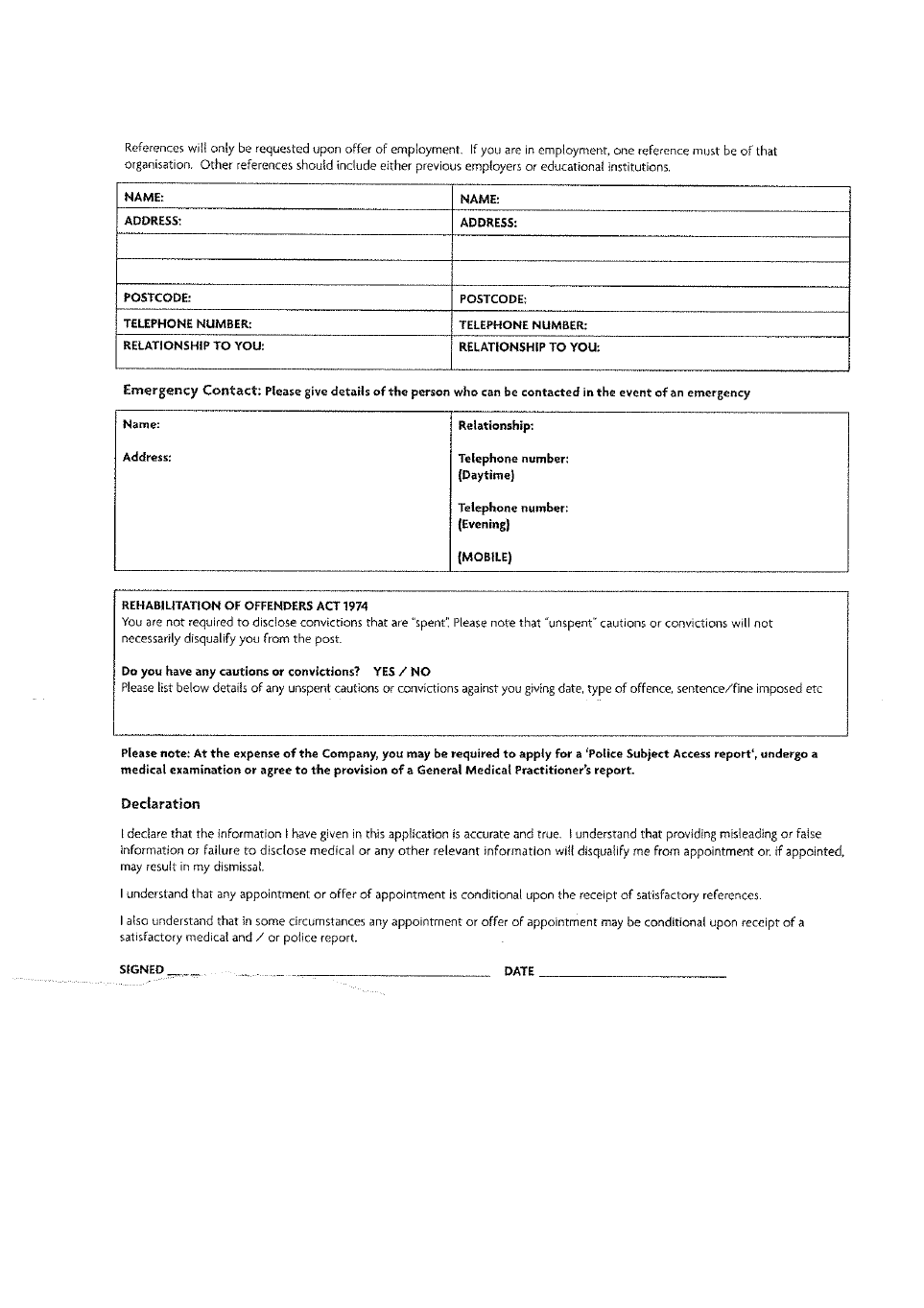Matalan Employment Application Form Free Download