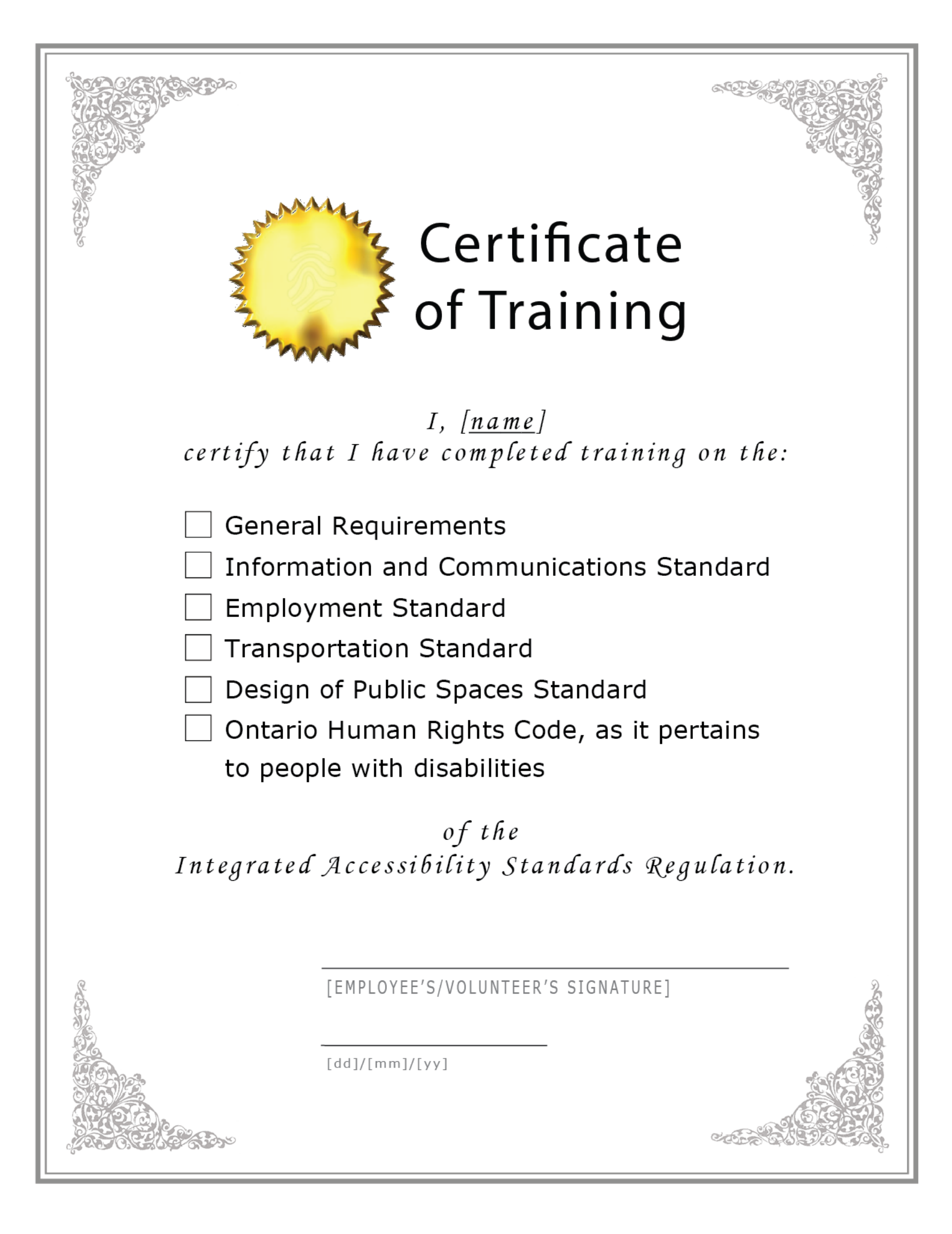 blank sample certificate of training free download