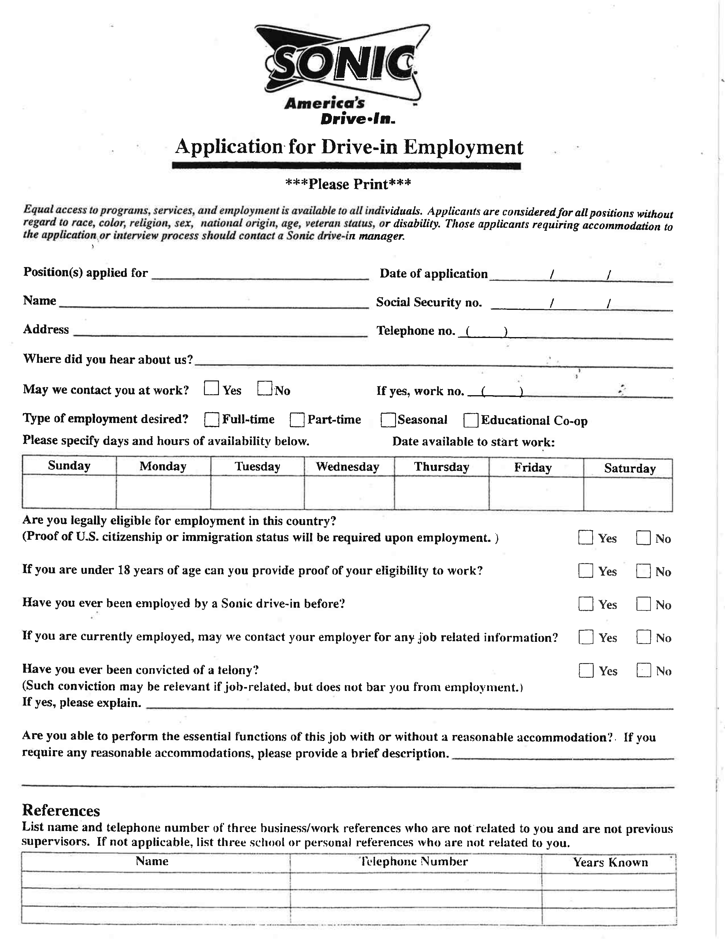 Sonic Drive-in Job Application Form Free Download