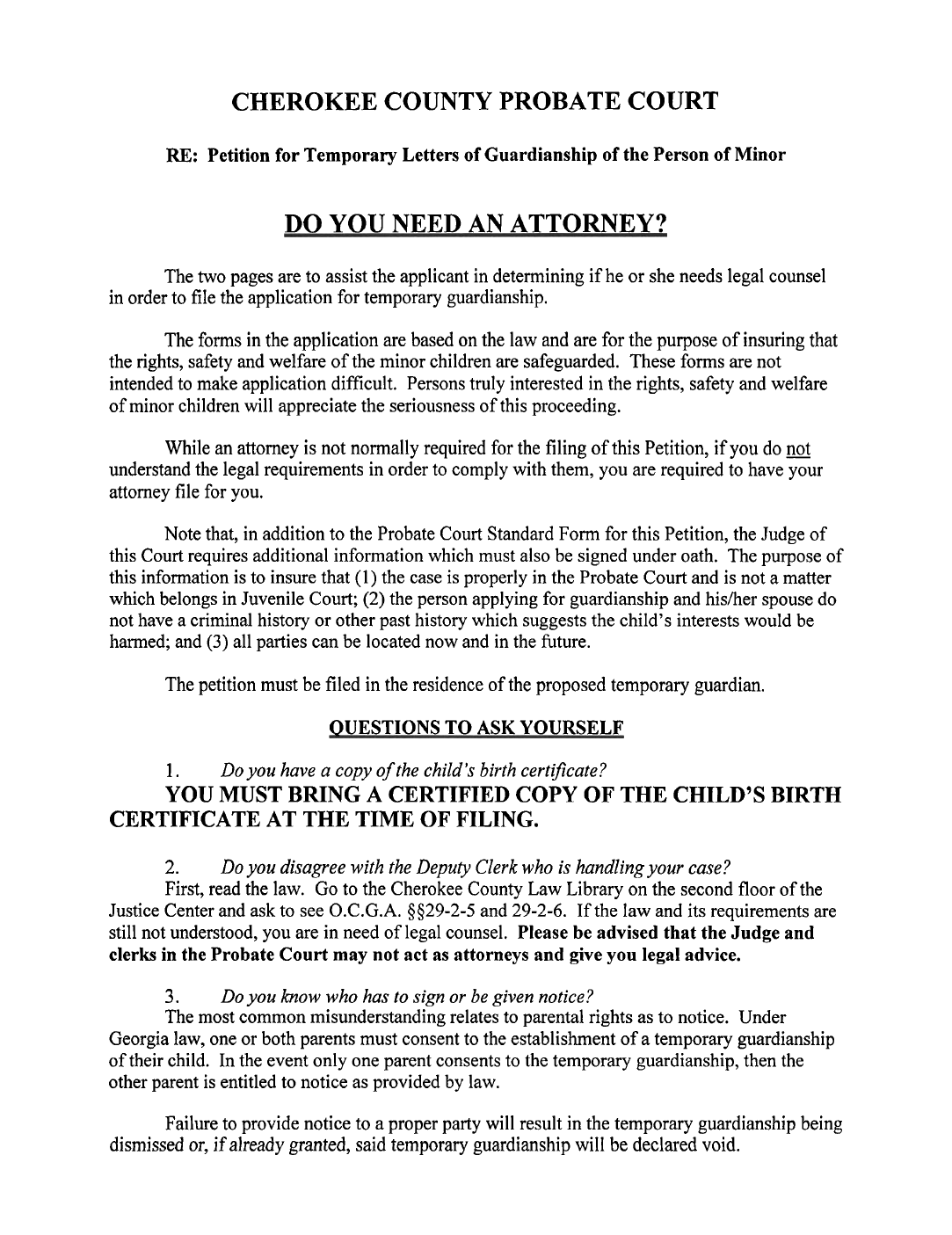temporary legal guardianship form georgia free download