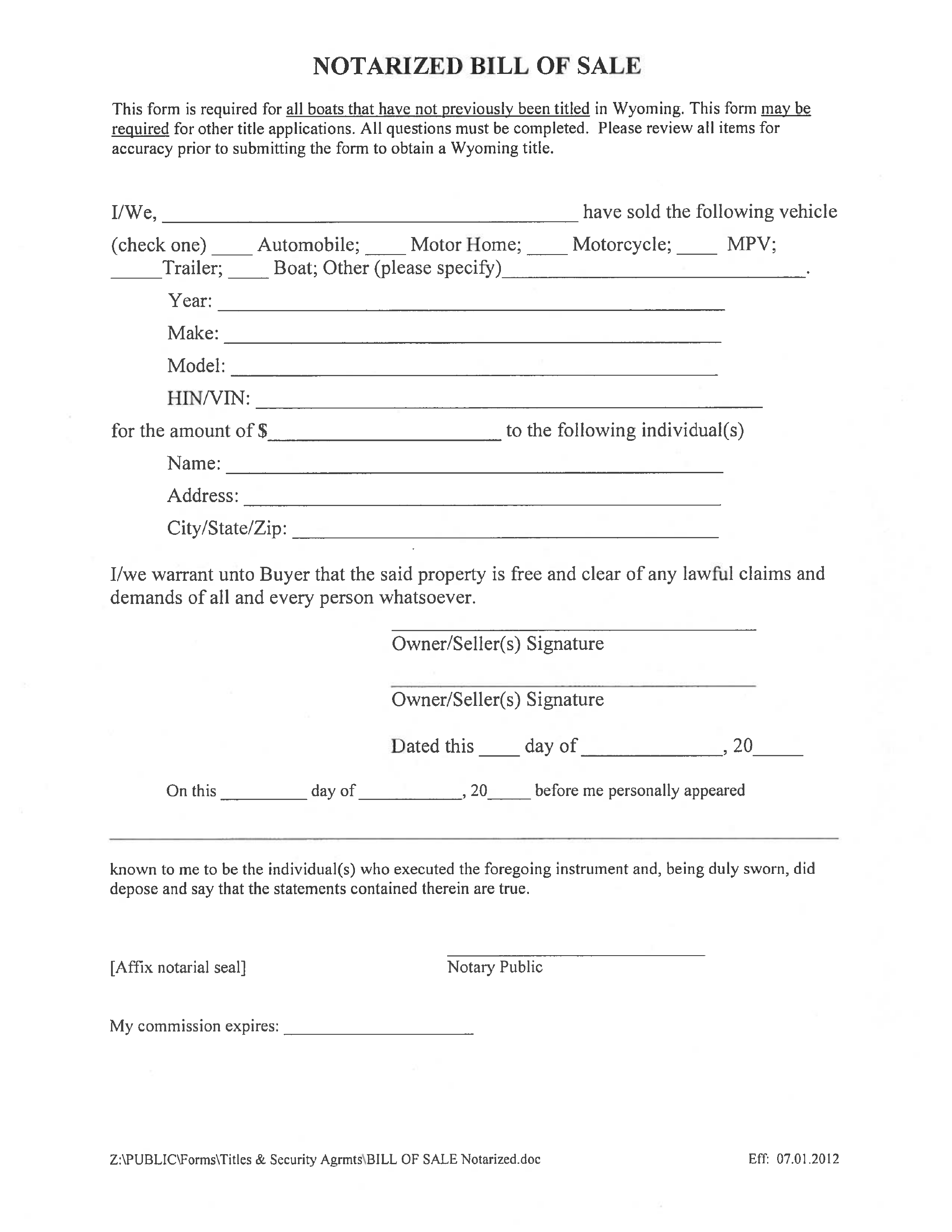 Notarized Boat Bill Of Sale Form   Wyoming PDF  Bill Of Sale Template For Boat