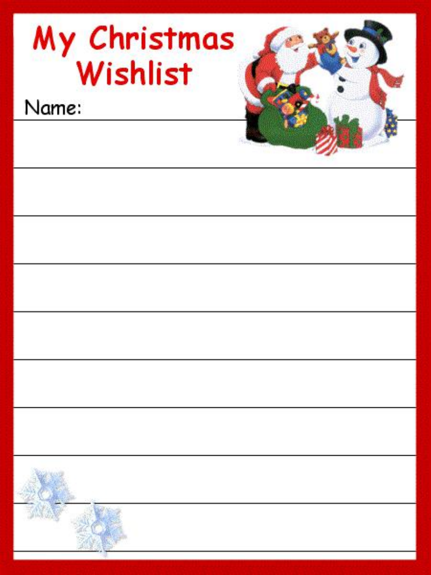 cute christmas wish list free download