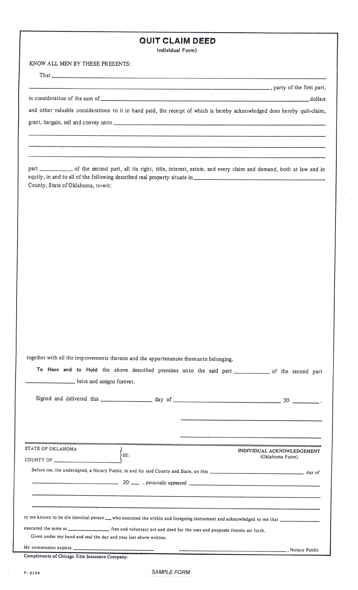 Quit claim deed individual form oklahoma free download for Quit claim deed template free download