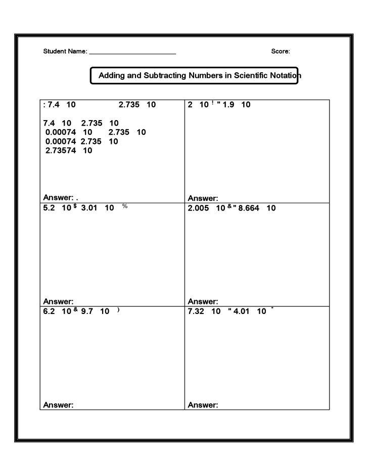 Add And Subtract Of Scientific Notations Math Worksheet Free
