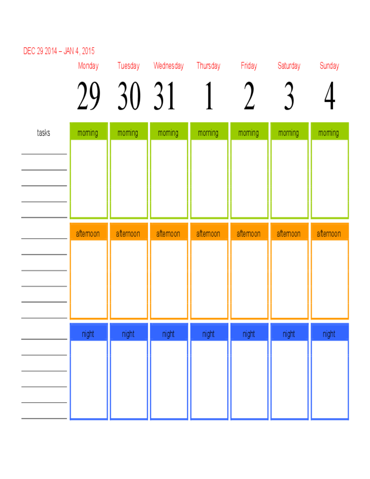 2015 Morning Afternoon Night Calendar Free Download