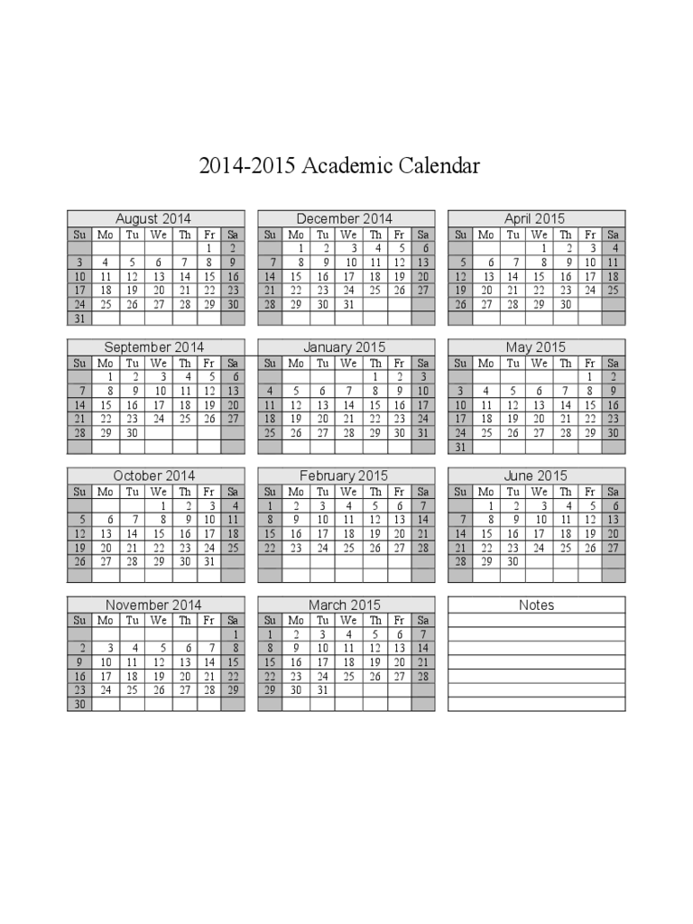 2014-2015 Academic Calendar Free Download