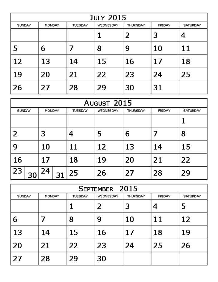 2015 Calendar Three Months Per Page Free Download