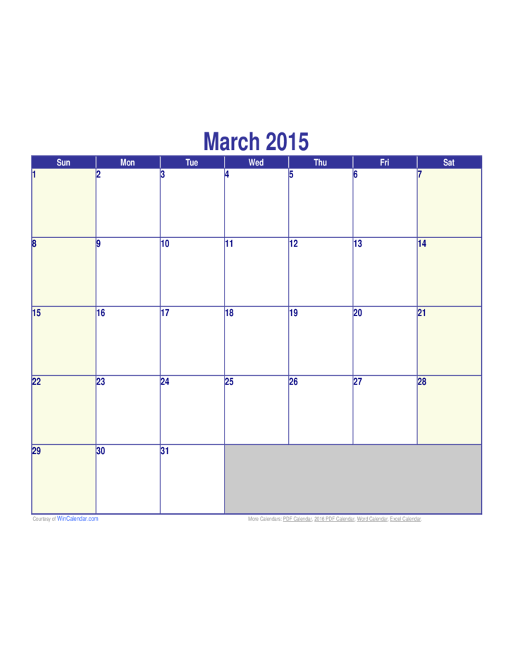 March 2015 Calendar Sample Free Download