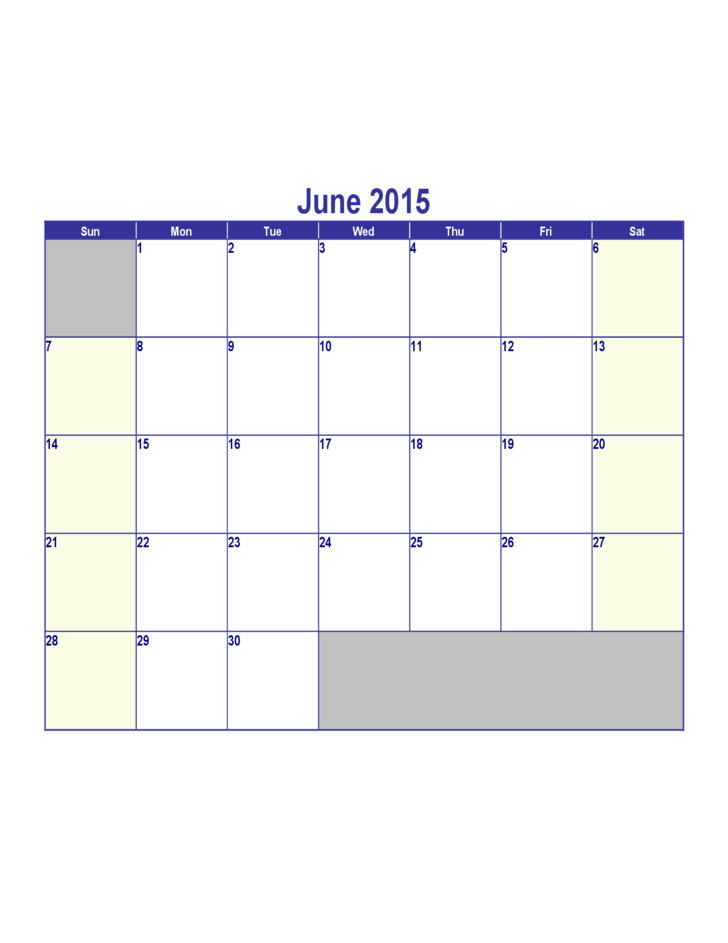 2015 June: June 2015 Calendar Free Download