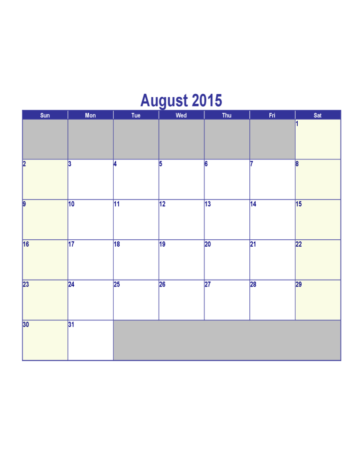 August 2015 Calendar Free Download