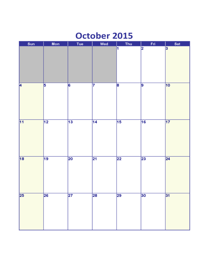 October Calendar 2015 : October calendar free download