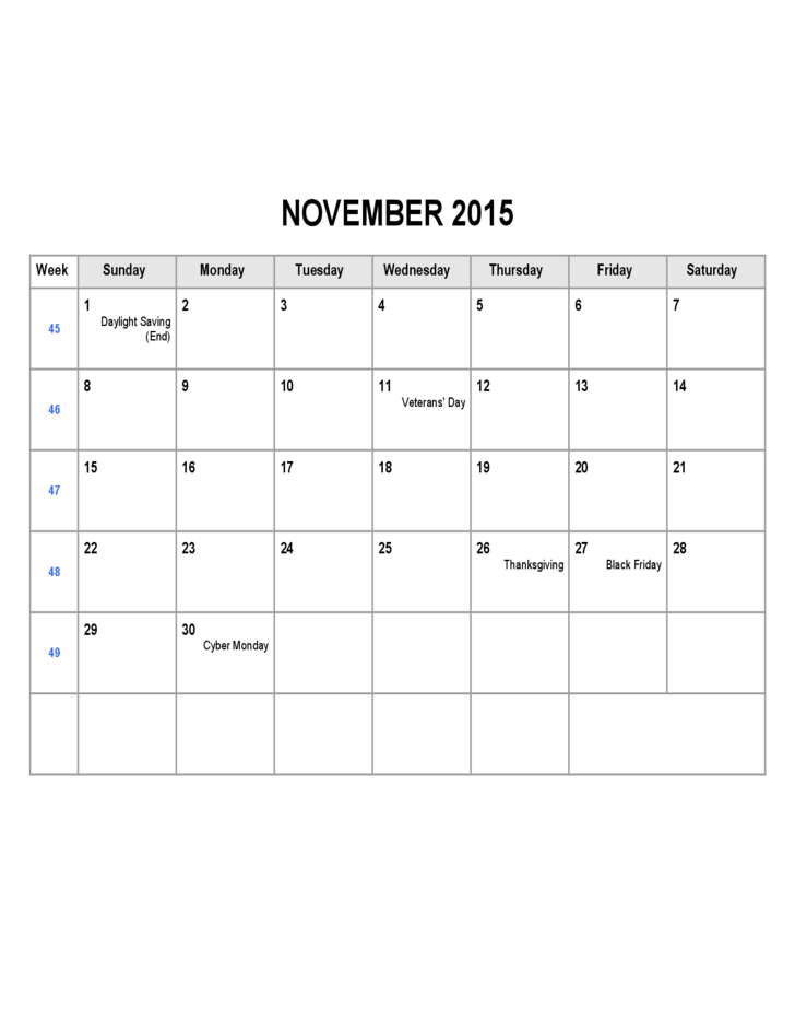 November 2015 Calendar Sample Free Download – Sample 2015 Calendar