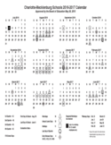 2016-2017 School Calendar Sample