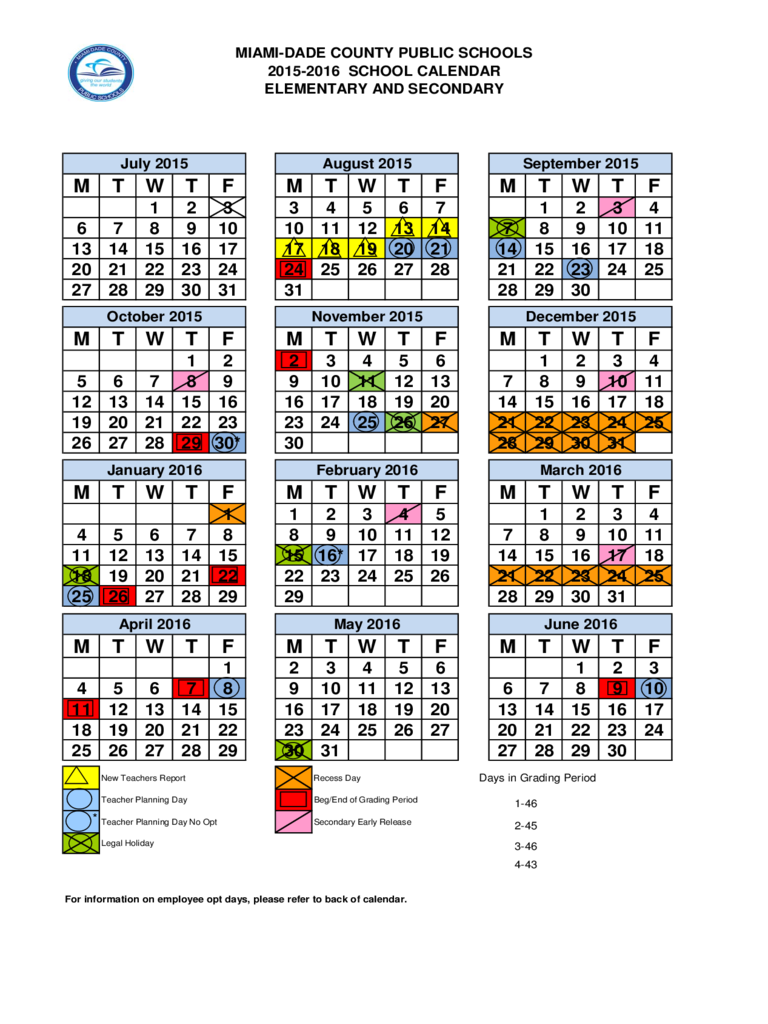 2015-2016 School Calendar - Dade County, Miami
