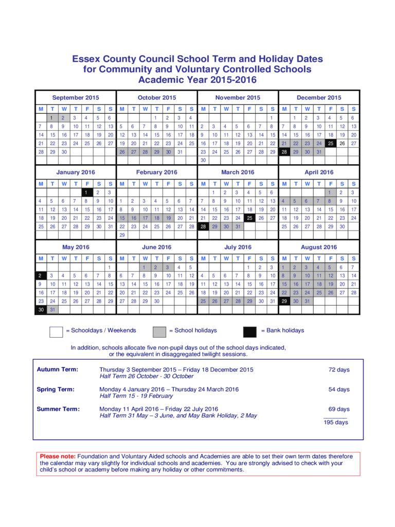 2015-2016 Academic Year Calendar Free Download