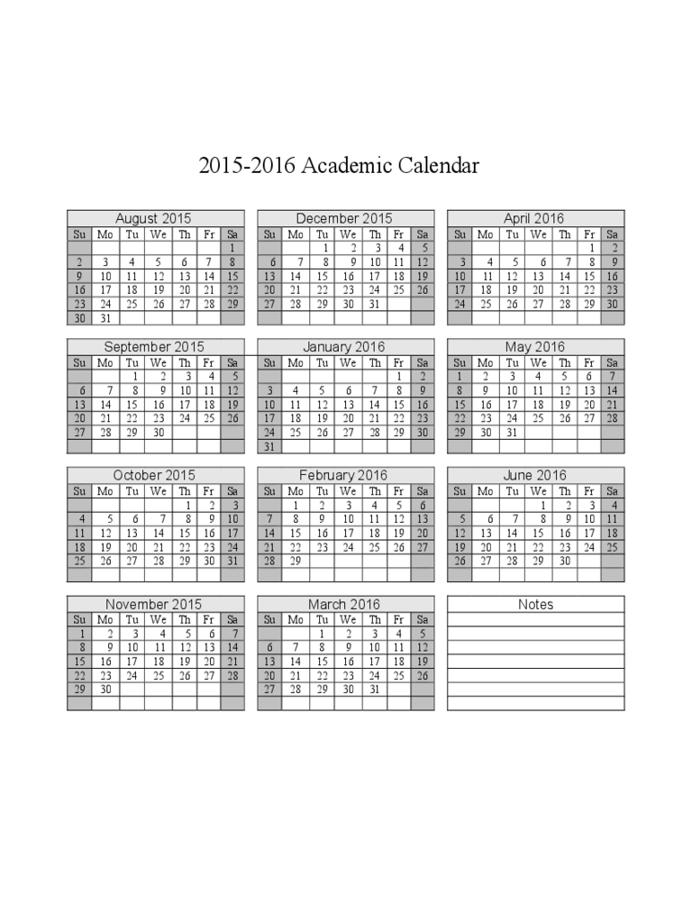 2015-2016 Academic Calendar Free Download