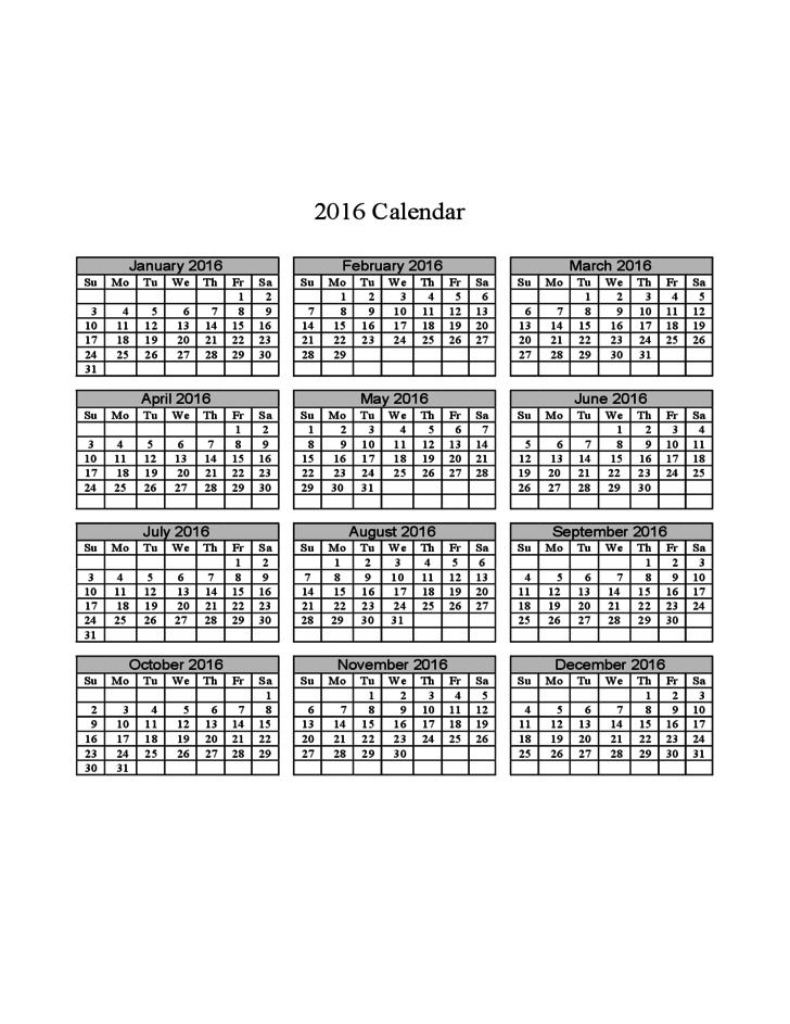 2016 Calendar on One Page (Horizontal Grid) Free Download