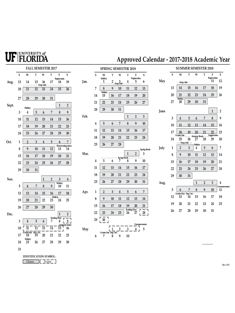 2017 Calendar - University of Florida Free Download
