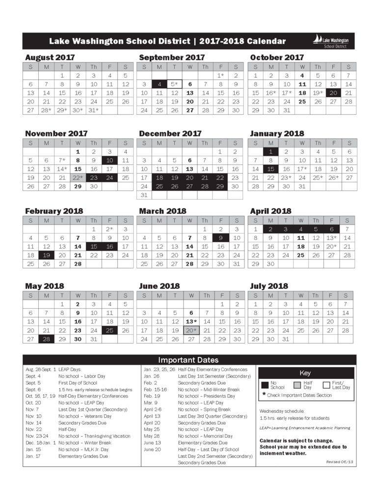 2017 Calendar - Lake Washington School Free Download