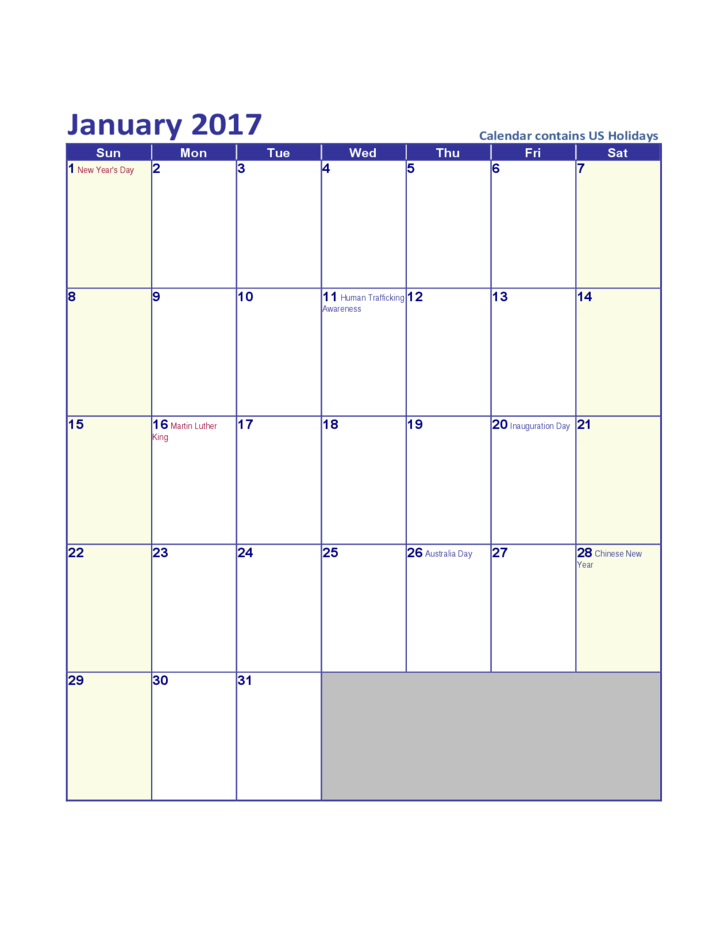 January Calendar 2017 With Holidays : January us calendar with holidays free download